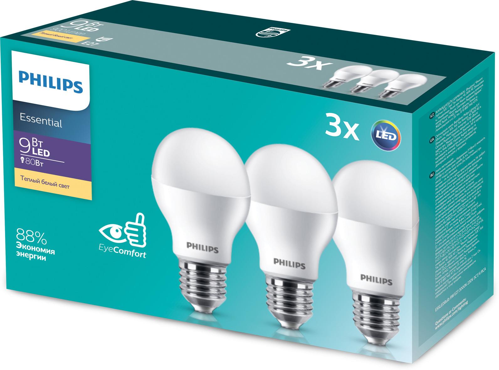 Лампочка Philips светодиодная Essential LEDBulb 9 Вт, Светодиодная лампочка philips 12v 10w20w35w50w