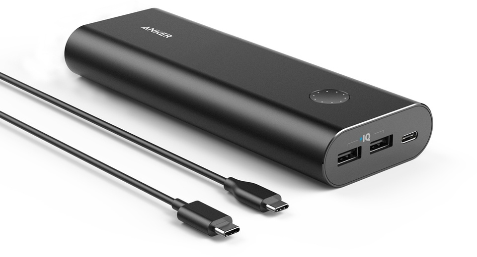 Внешний аккумулятор ANKER PowerCore+ 20100 mAh, A1371Z11, черный 50pcs micro usb 3 0 male to usb c usb 3 1 type c female extension data cable for macbook tablet 10cm by fedex