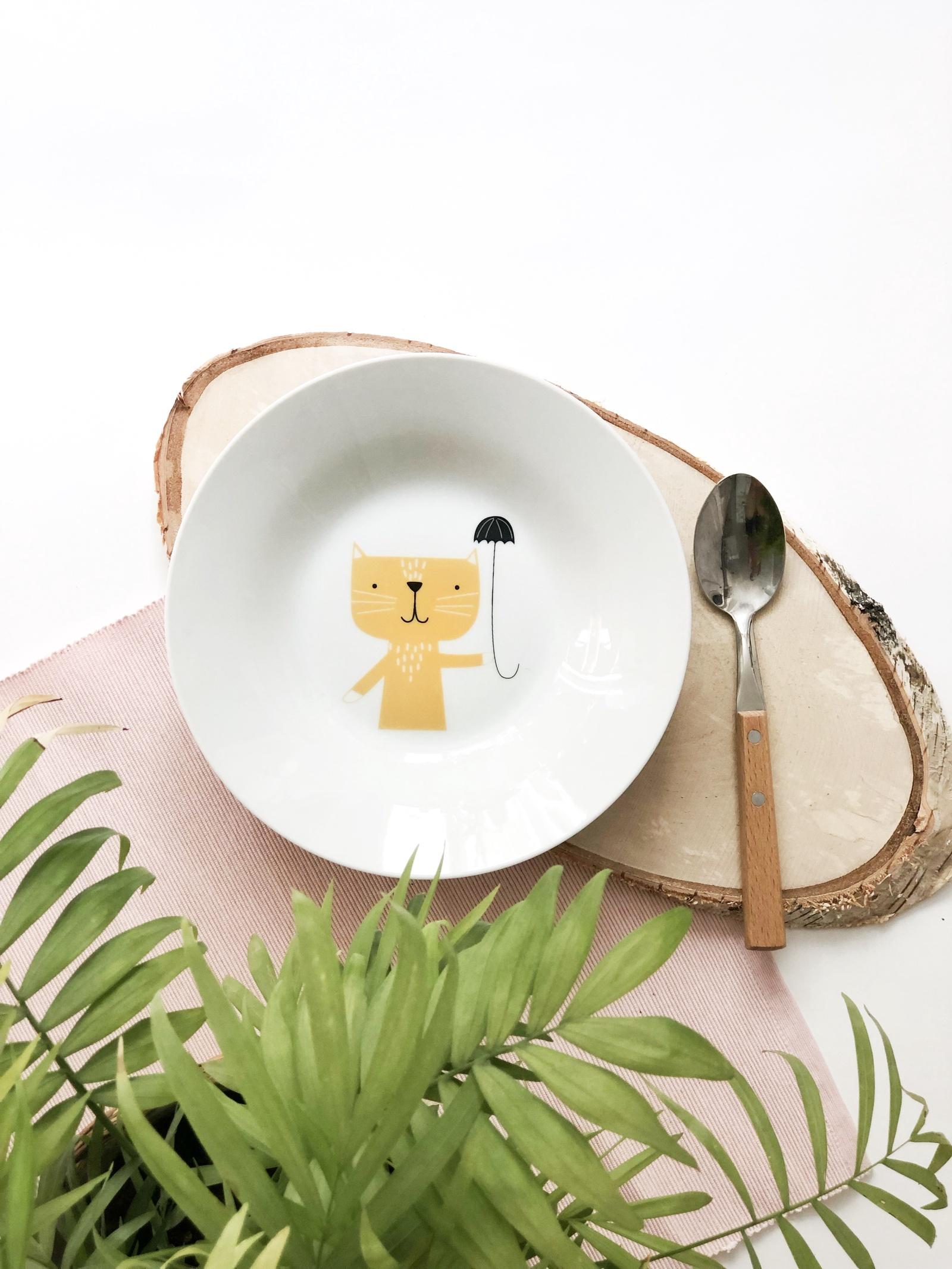 Тарелка глубокая Сотвори Чудо Rainy Cat 20 см, белый тарелка мелкая сотвори чудо бананы диаметр 20 см