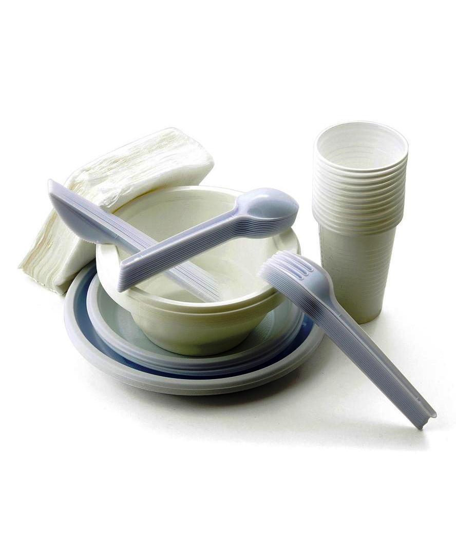 Набор одноразовой посуды Paclan Набор посуды для пикника BIG COMPANY на 12 персон (тарелка 205мм - 12шт, тарелка 170мм - 12шт, миска 0,6л - 12шт, стакан 200мл - 12шт, вилка - 12шт, ложка - 12шт, нож - 12шт, салфетки 1-сл 24x24 - 50шт), белый paclan party набор для пикника на 6 персон тарелки 170мм 6шт стаканы 200мл 6шт вилки 6шт