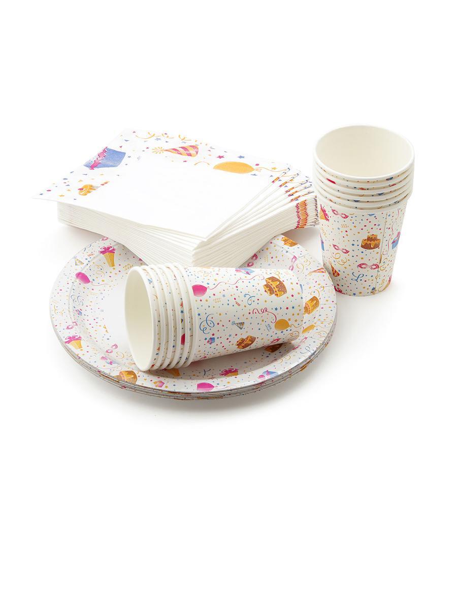 Набор одноразовой посуды Paclan Набор одноразовой бумажной посуды KIDS PARTY: 12 стаканов по 250 мл, 12 тарелок 23 см, салфетки 3 слоя, 33x33 см - 20 шт., разноцветный ступень pastorelli himalaya annapurna 33x33