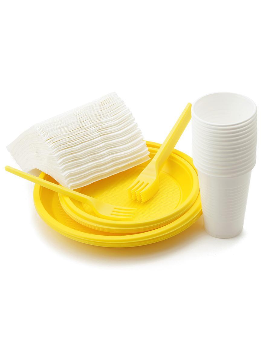 Набор одноразовой посуды Paclan Набор посуды для пикника SUNS SPRING на 12 персон (тарелка 205мм цветная - 12шт, тарелка 170мм цветная - 12шт, стакан 200мл - 12шт, вилка цветная - 12шт, салфетки 1-сл 24x24 - 50шт), желтый paclan party набор для пикника на 6 персон тарелки 170мм 6шт стаканы 200мл 6шт вилки 6шт