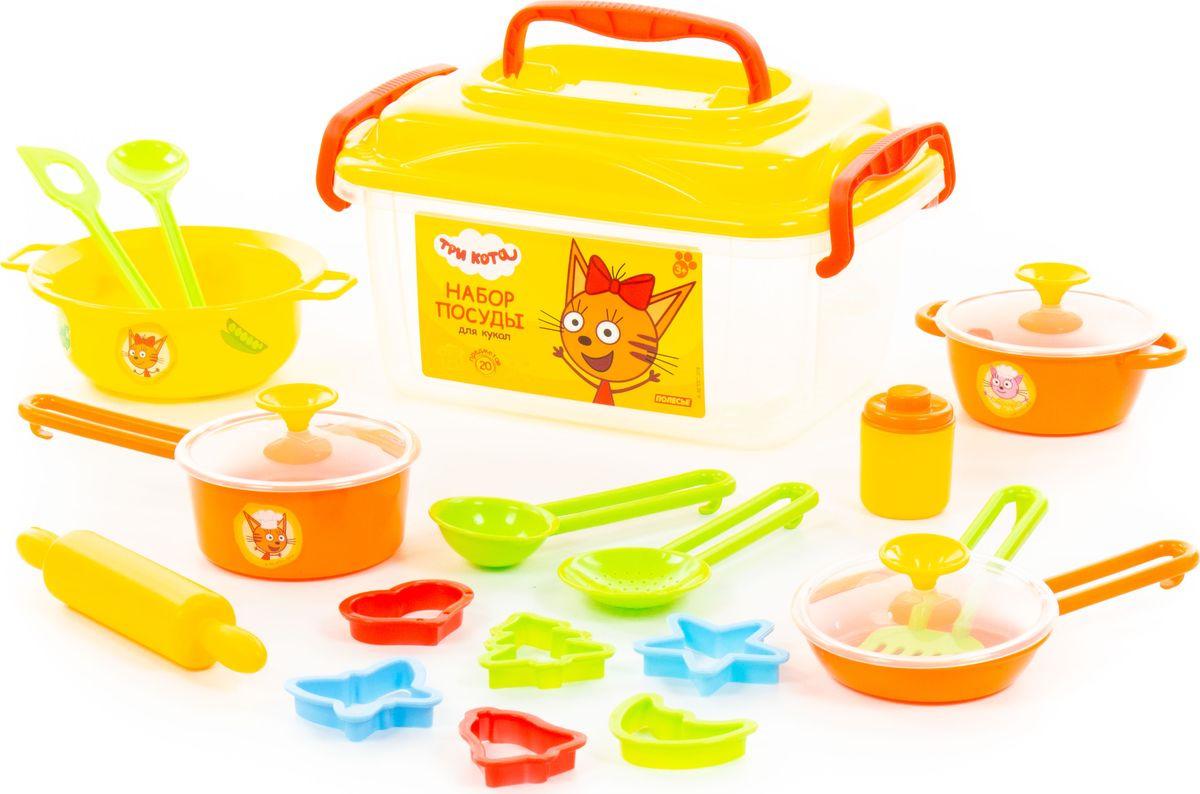 Аксессуар для кукол Полесье Набор посуды Три кота, 72931, 20 предметов полесье набор для пикника 9 на 6 персон 54 элемента в контейнере