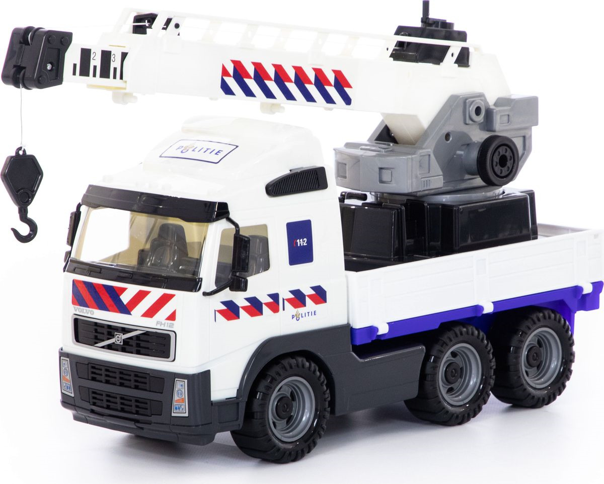Кран Полесье Volvo с поворотной платформой полицейский, 77318 машина игрушечная с аксессуарами полесье volvo дорожный каток