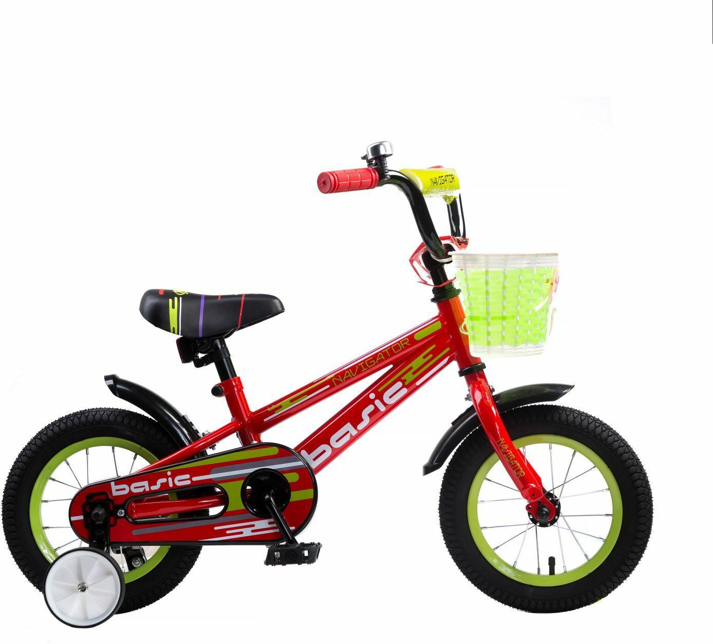Велосипед детский Navigator Basic, ВН12130, красный, желтый, колесо 12