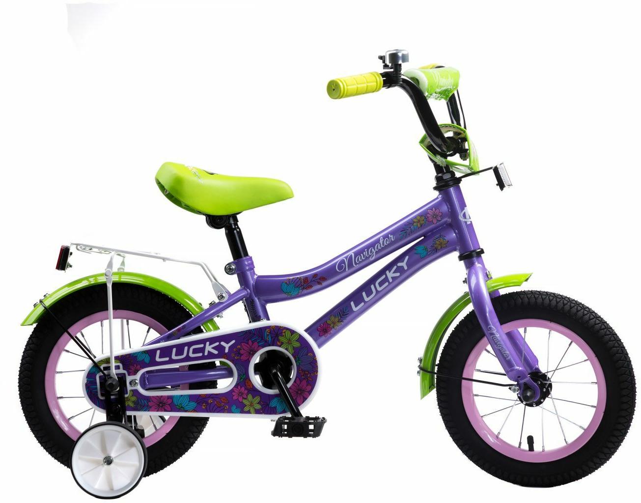 Велосипед детский Navigator Lucky, ВН12131, фиолетовый, светло-зеленый, колесо 12