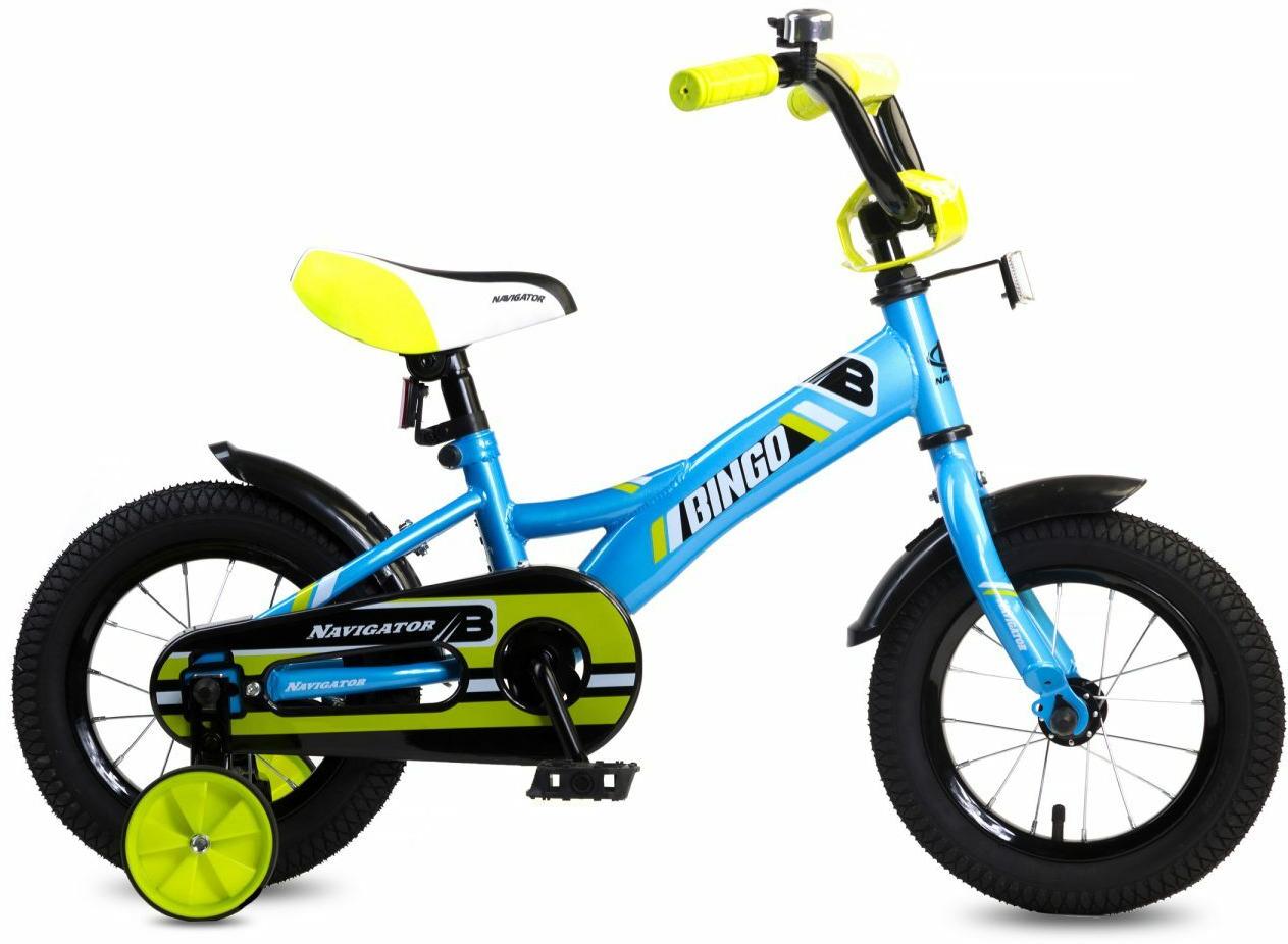 Велосипед детский Navigator Bingo, ВН12137, голубой, желтый, колесо 12