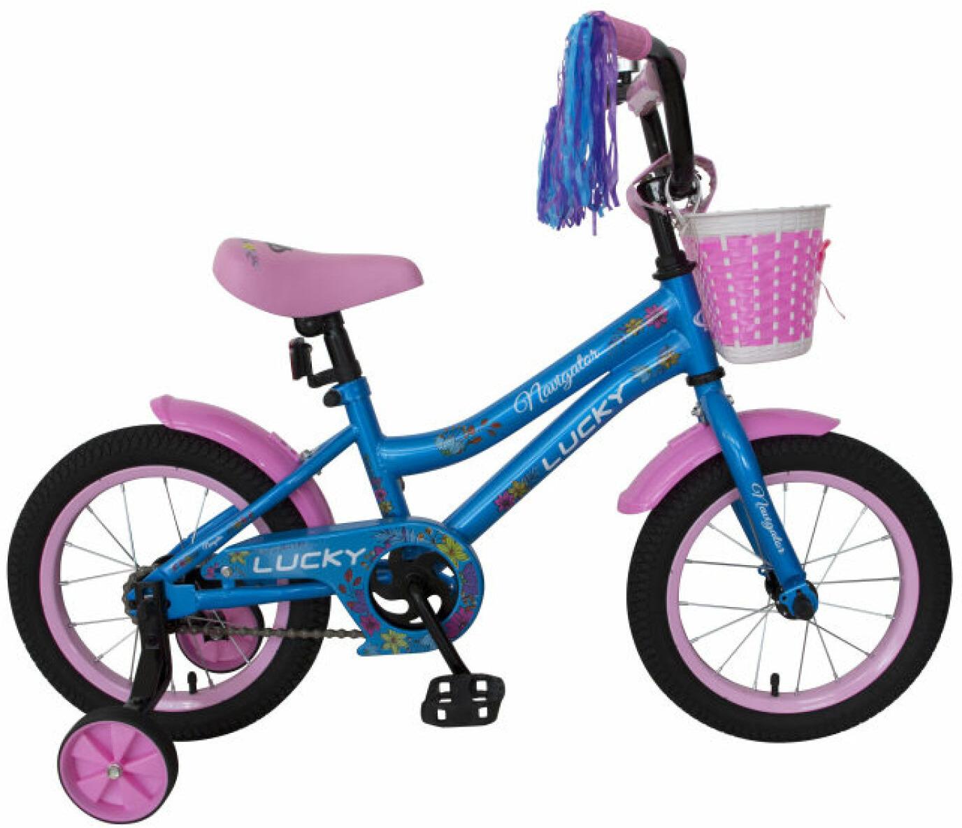 Велосипед детский Navigator Lucky, ВН14175, розовый, голубой, колесо 14