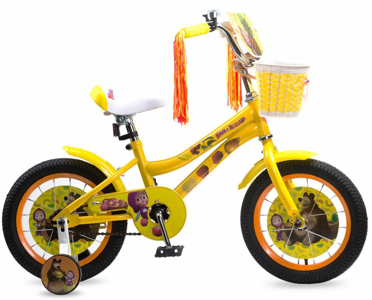 Велосипед детский Navigator Маша и Медведь, ВН14180, желтый, колесо 14