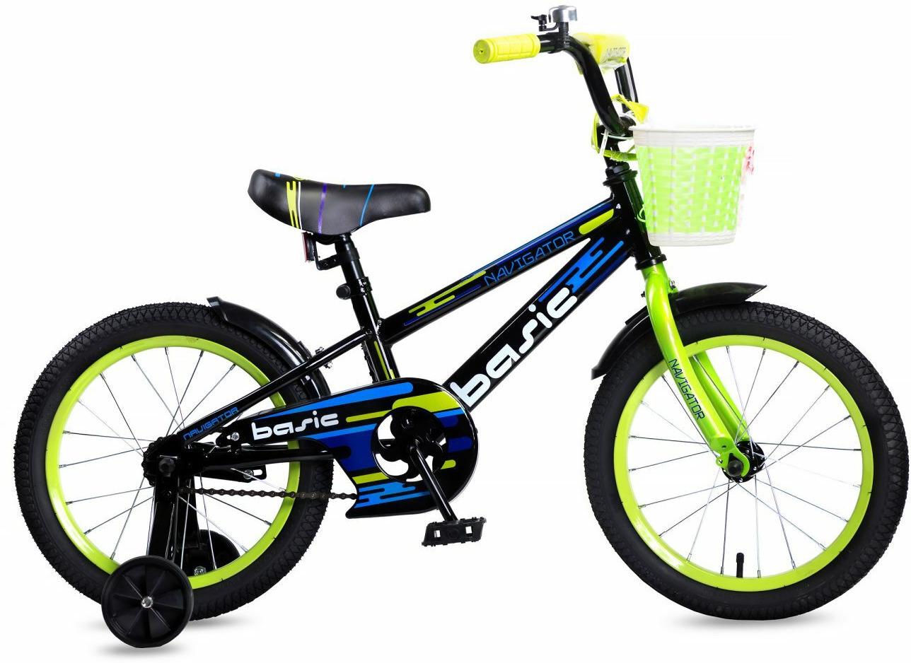 Велосипед детский Navigator Basic, ВН16132, зеленый, черный, колесо 16