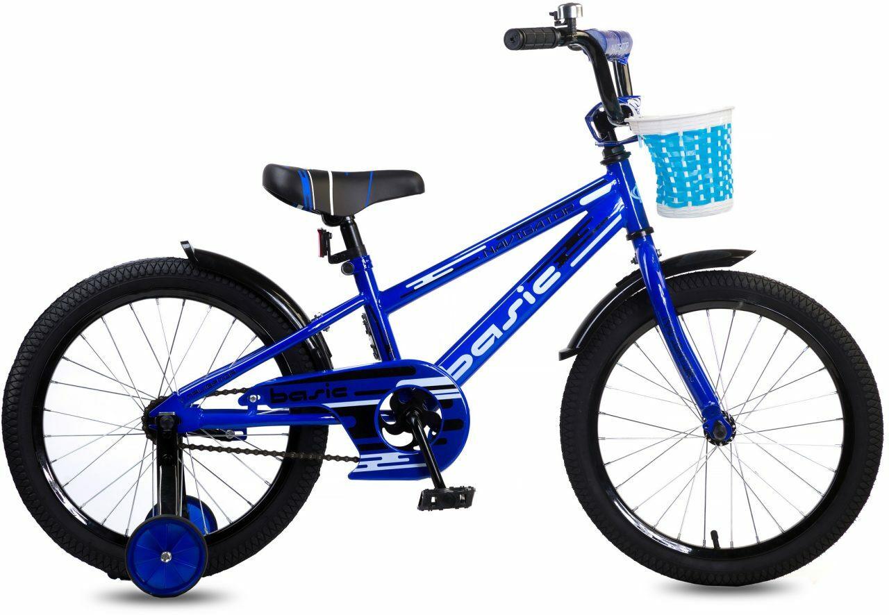 Велосипед детский Navigator Basic, ВН18097, синий, черный, колесо 18