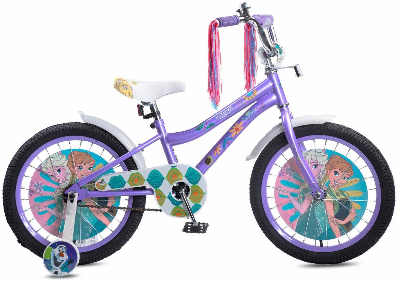 цены на Велосипед детский Disney Холодное сердце, ВН18105, фиолетовый, белый, колесо 18