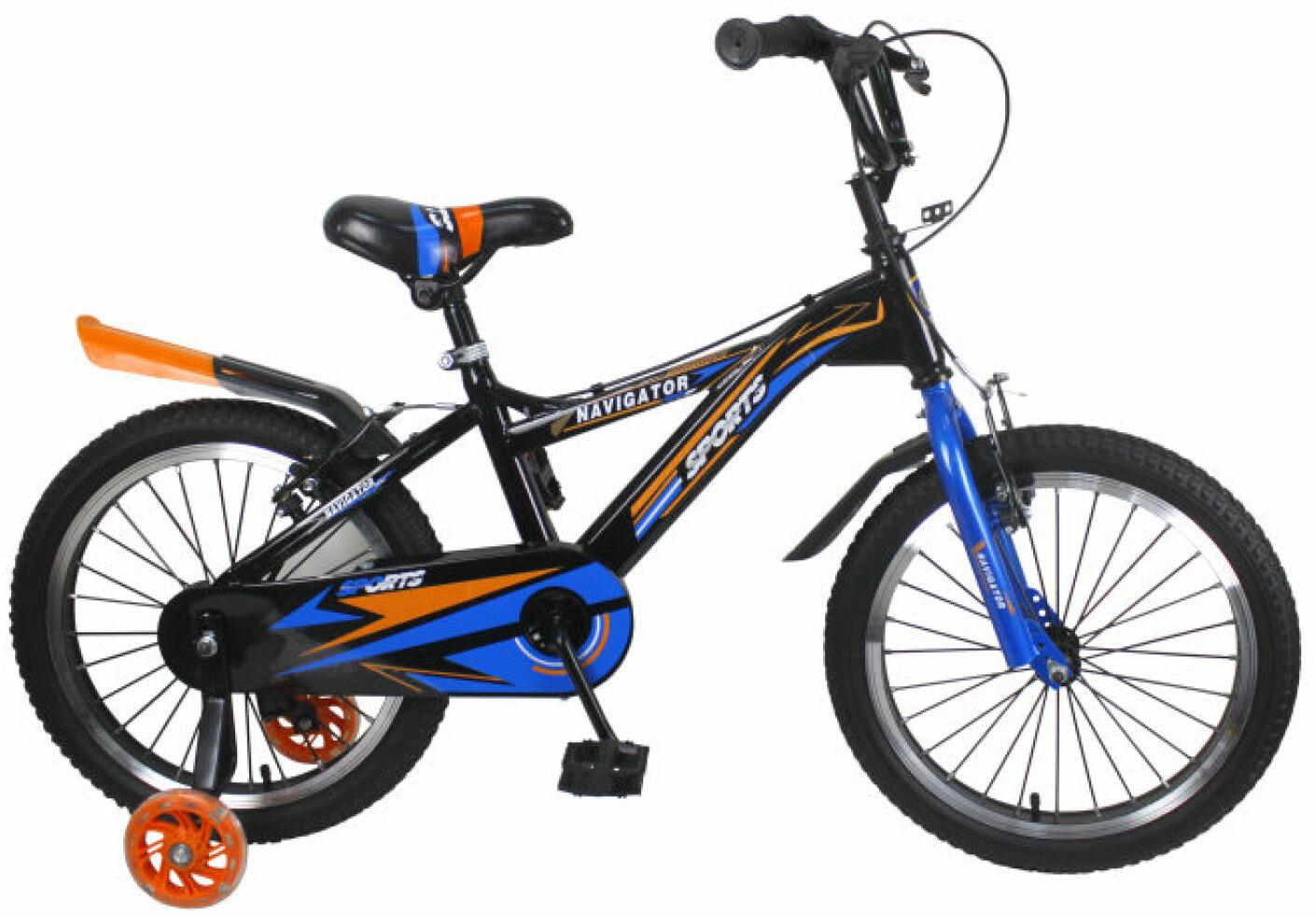 Велосипед детский Navigator Sport II, ВН18107, синий, черный, колесо 18