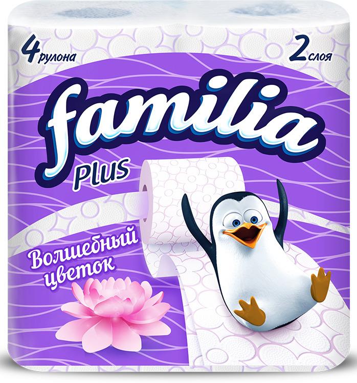 Туалетная бумага Familia Plus Магический цветок, двухслойная, цвет: белый, 4 шт туалетная бумага familia plus магический цветок двухслойная цвет белый 4 шт