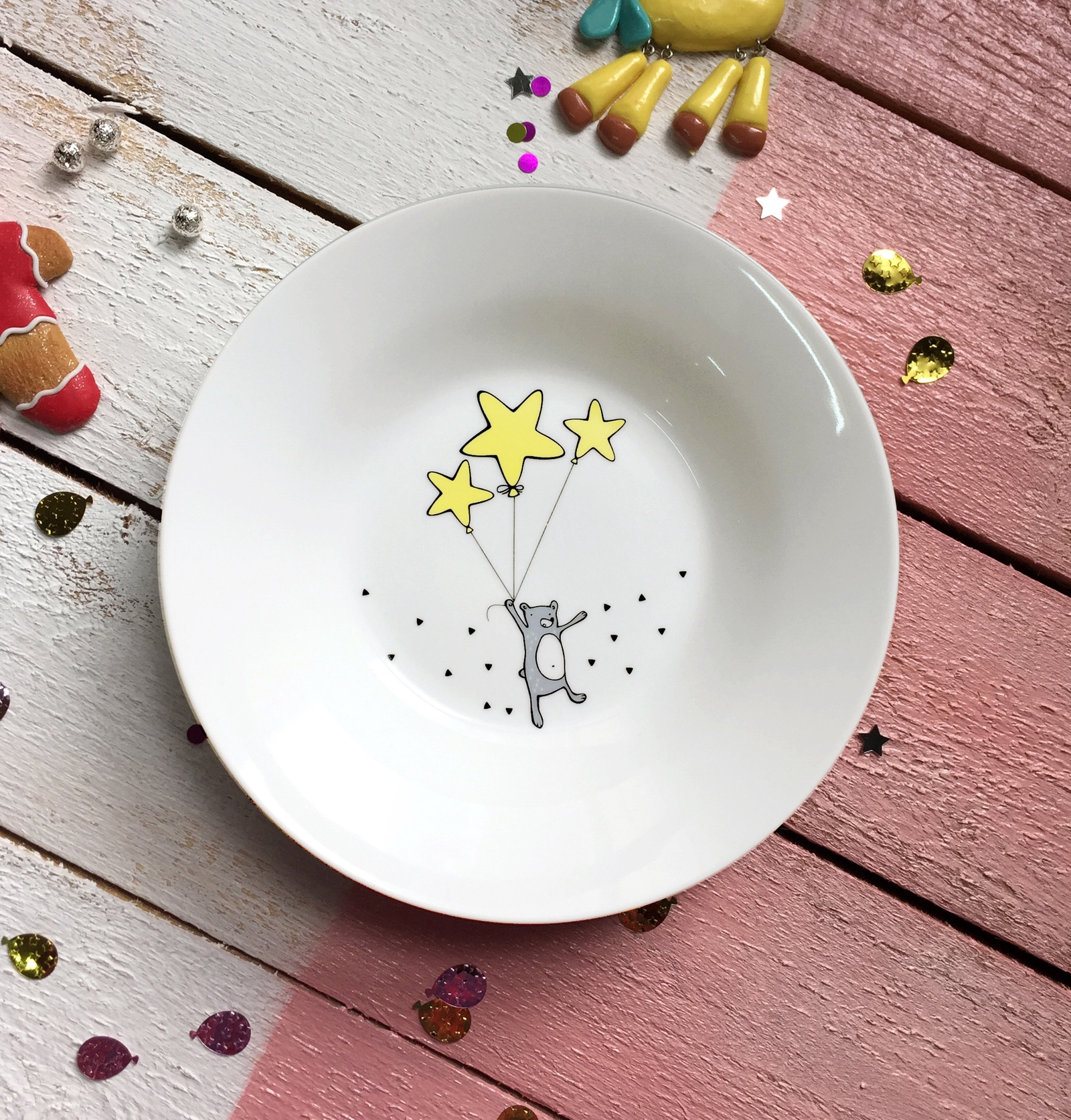 Тарелка глубокая Сотвори Чудо Звёздный мишка 20 см, белый тарелка мелкая сотвори чудо бананы диаметр 20 см