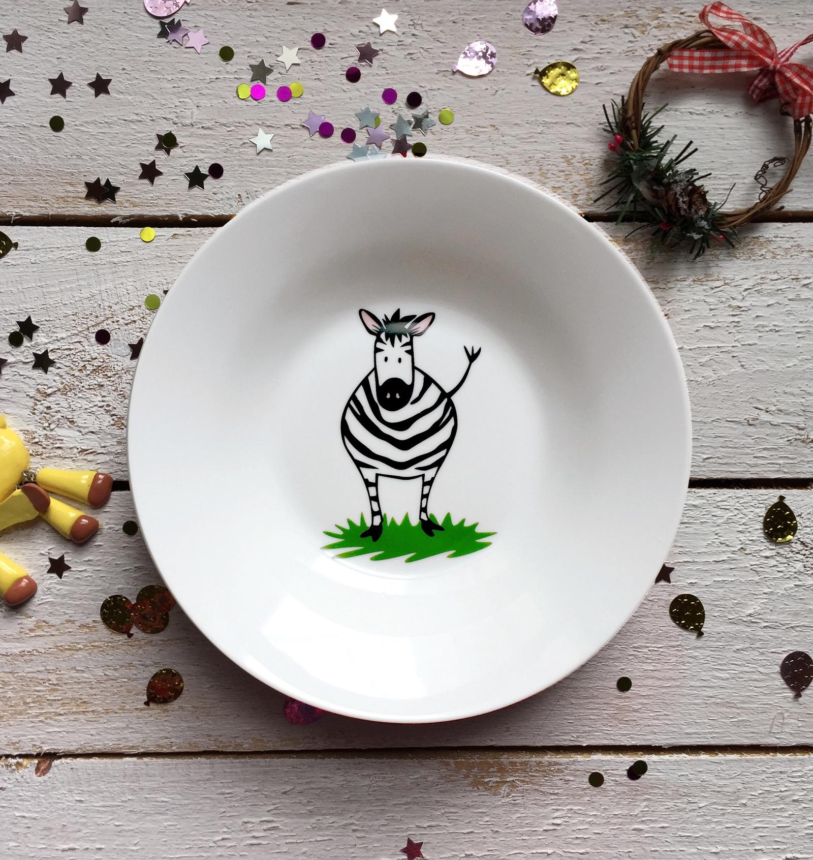 Тарелка глубокая Сотвори Чудо Зебрушка 20 см, белый тарелка мелкая сотвори чудо бананы диаметр 20 см