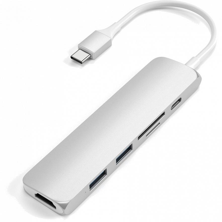 USB-концентратор SATECHI Переходник Slim Aluminum Type-C Multi-Port Adapter V2,ST-SCMA2S, серебристый 50pcs micro usb 3 0 male to usb c usb 3 1 type c female extension data cable for macbook tablet 10cm by fedex