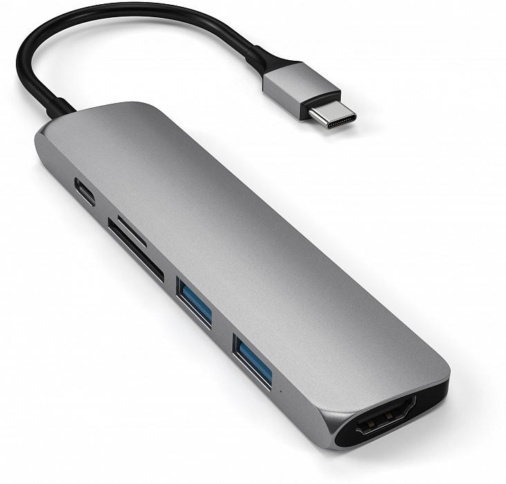 USB-концентратор SATECHI Slim Multi-Port V2,Type-C 4K,ST-SCMA2M, серый satechi st cmas silver концентратор type c multi port adapter