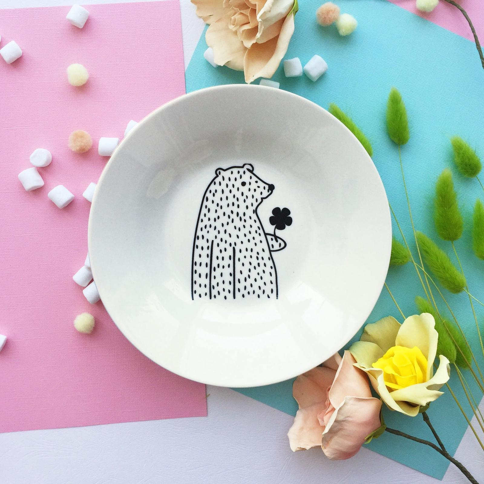 Тарелка глубокая Сотвори Чудо Цветочный мишка 20 см, белый тарелка мелкая сотвори чудо бантик sans brides диаметр 20 см