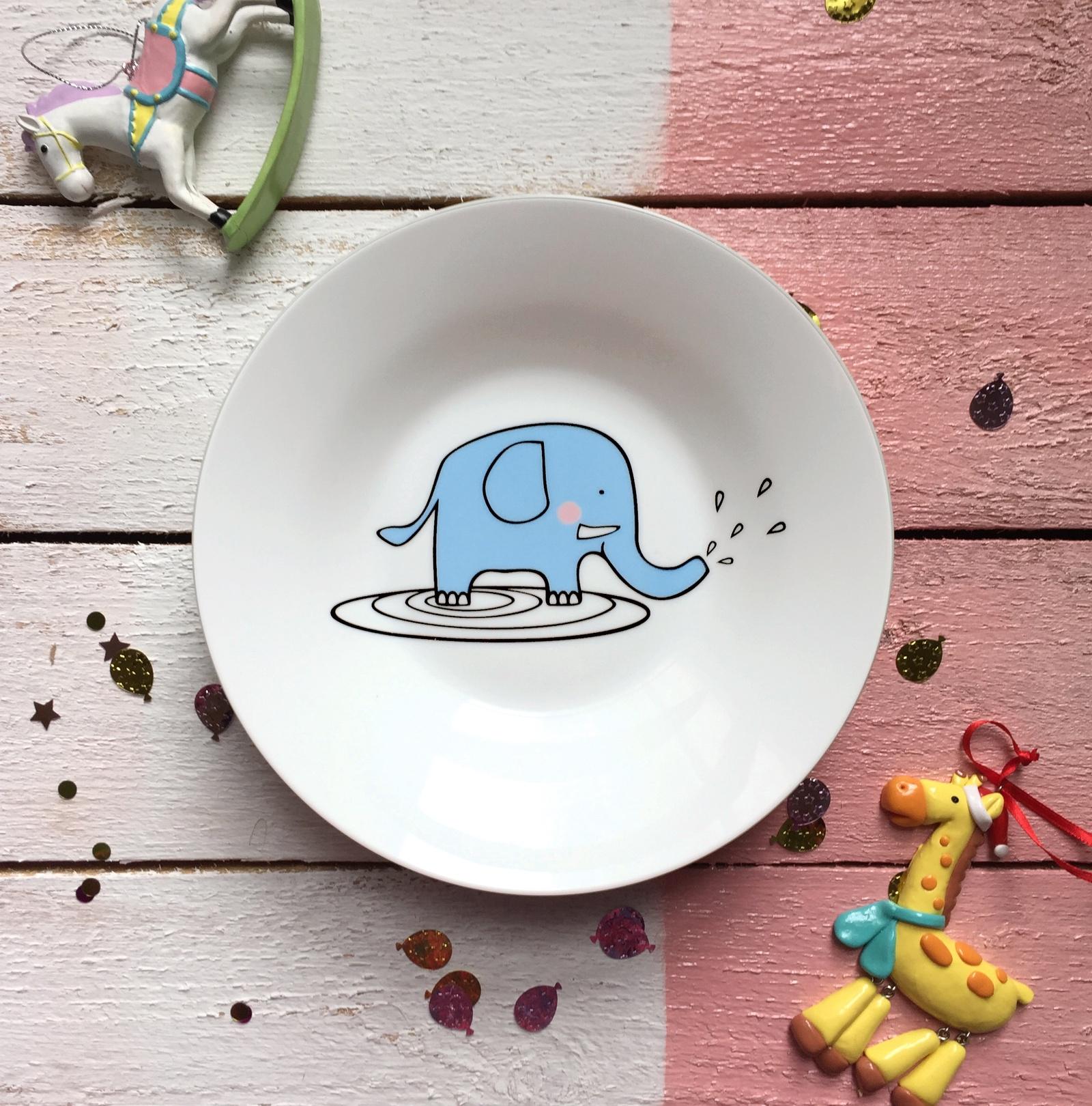 Тарелка глубокая Сотвори Чудо Слон Бубон 20 см, белый тарелка сотвори чудо киска диаметр 23 см