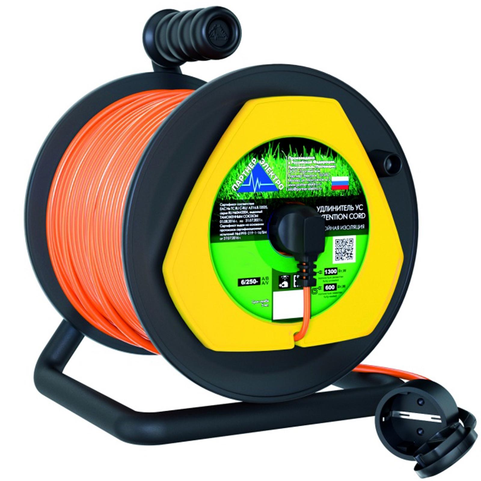 Удлинитель Партнер-Электро ПВС 2х0,75 ГОСТ,6A,20 метров,IP 44,на пластиковой катушке с выносной розеткой