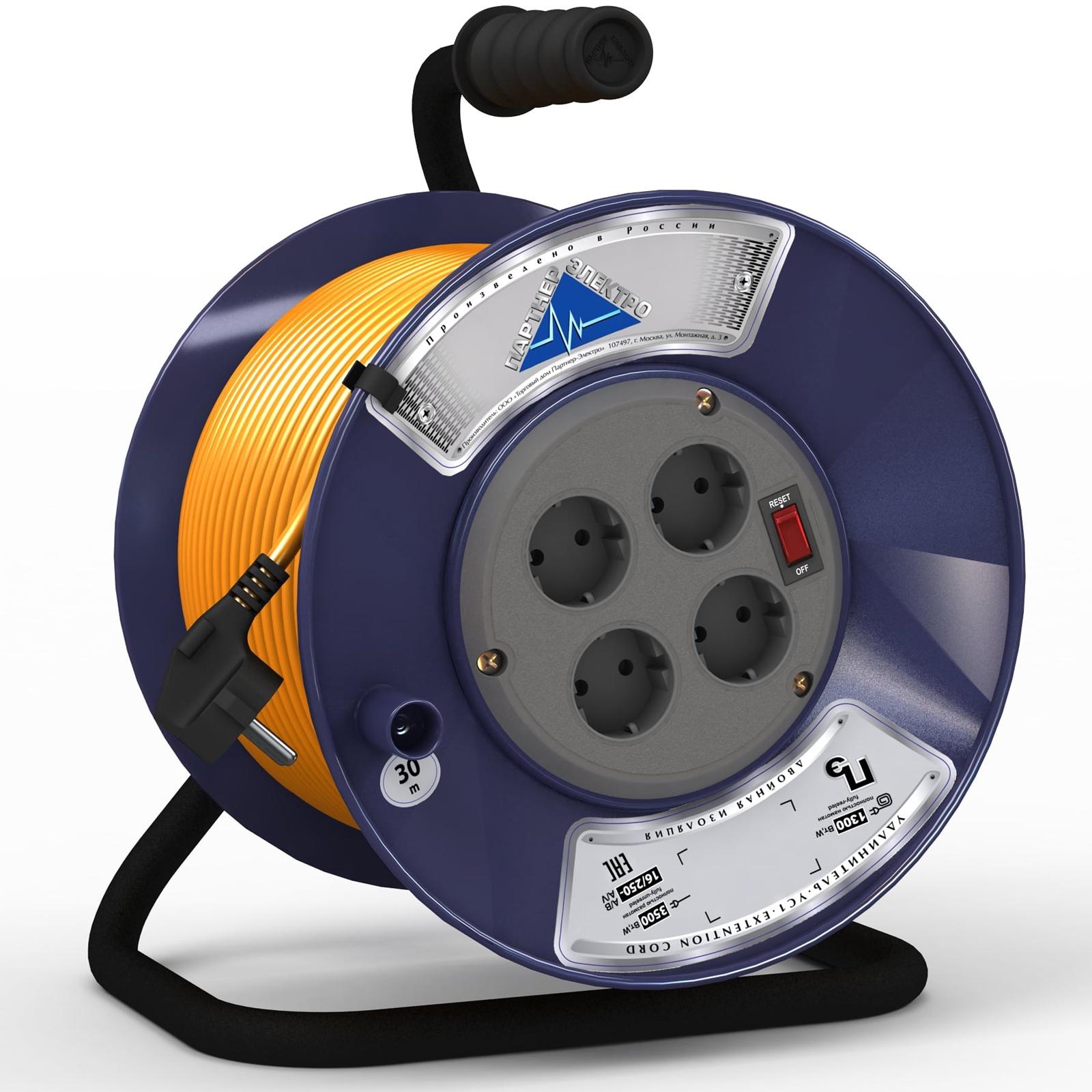Удлинитель Партнер-Электро ПВС 3х0,75 ГОСТ,10A,30 метров,на пластиковой катушке 4 гнезда,с выключателем.