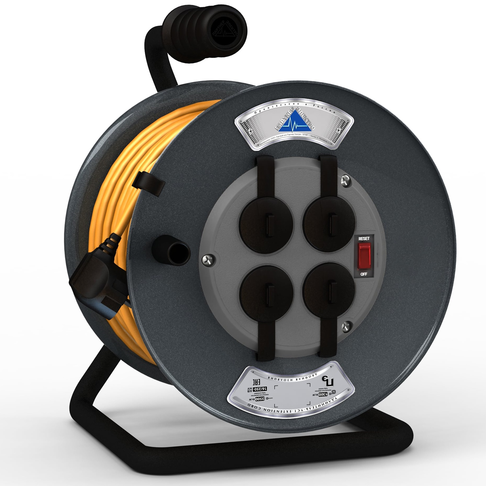 Удлинитель Партнер-Электро ПВС 3х1,5 ГОСТ,4 гнезда,на металлической катушке,16A,30метров,IP 44, с выключателем., оранжевый