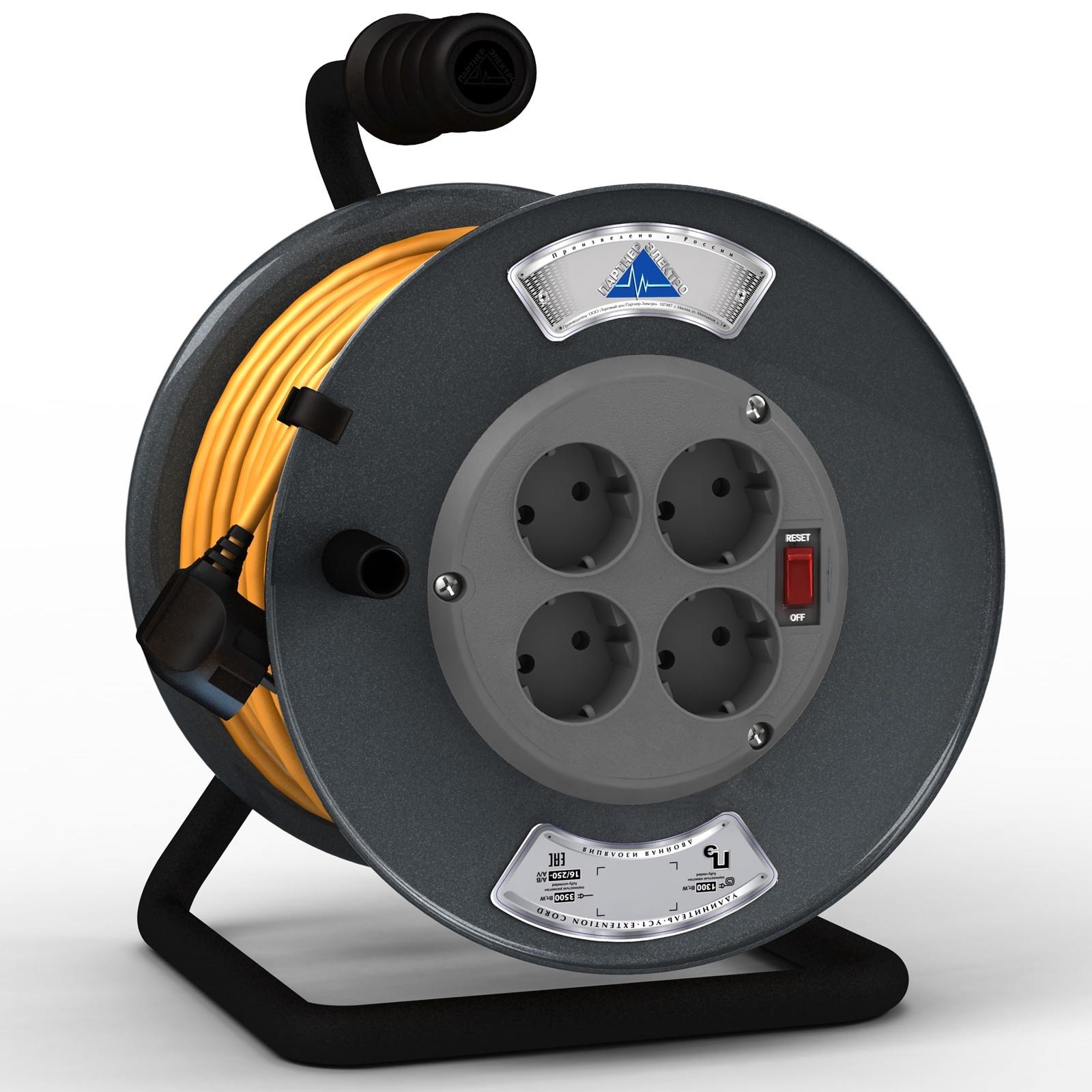 Удлинитель Партнер-Электро ПВС 3х1,5 ГОСТ,4гнезда,на металлической катушке,16A,30 метров