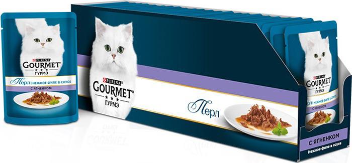 """Консервы для кошек Gourmet """"Perle"""", мини-филе с ягненком, 85 г, 24 шт"""