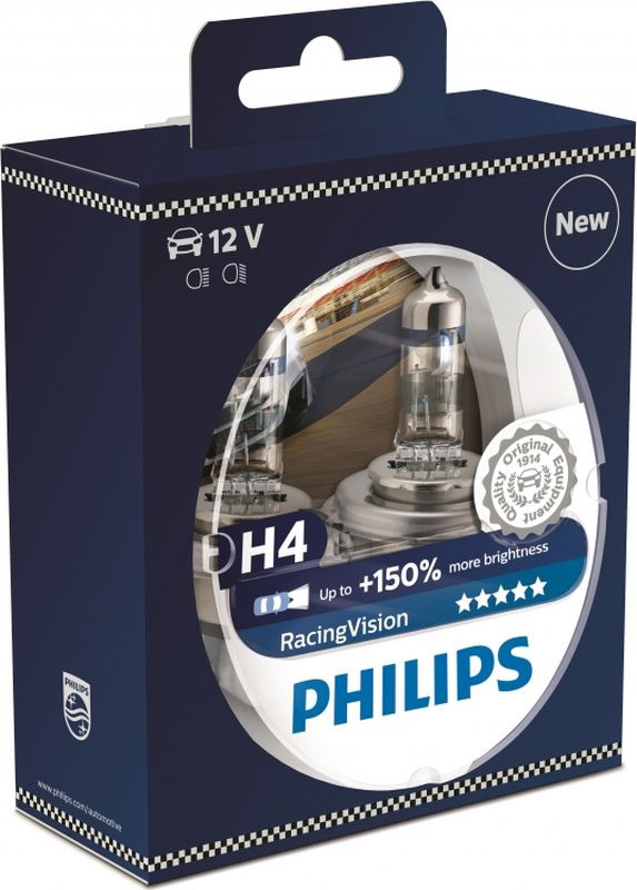 Лампа автомобильная Philips Racing Vision, H4 12V 60/55W, 2 шт лампа h4 clearlight 12v 60 55w x treme vision 150% light 2 шт