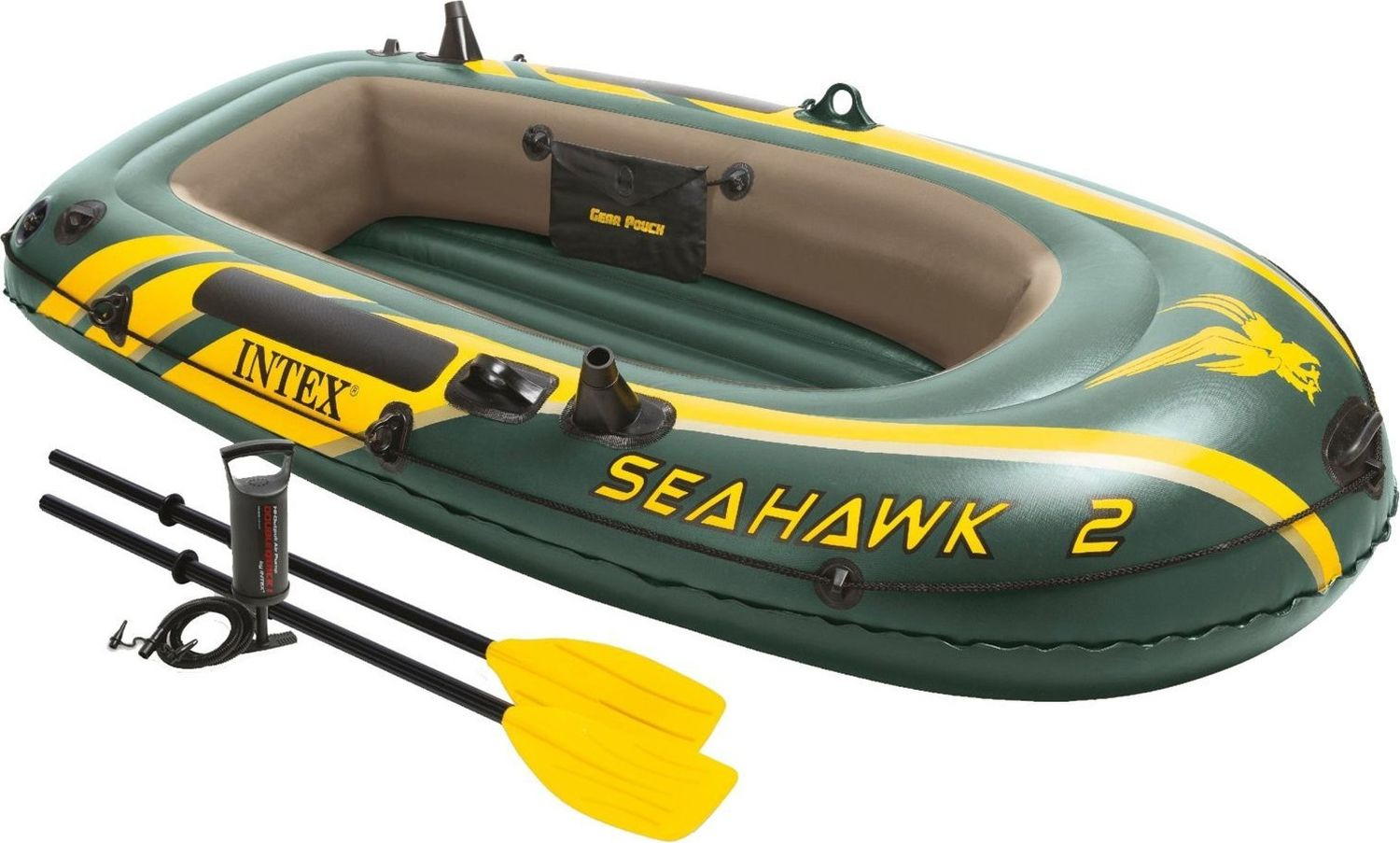 Лодка надувная Intex Seahawk 2 Set, 68347NP, с веслами и насосом, до 200 кг, 236 х 114 х 41 см