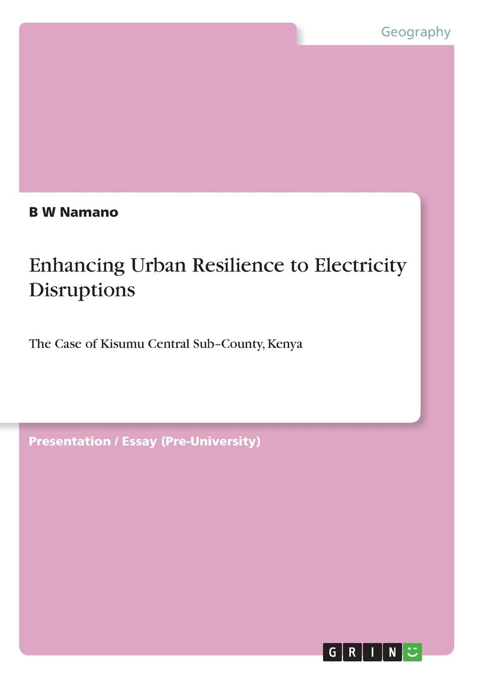 B W Namano Enhancing Urban Resilience to Electricity Disruptions comparison of rural and urban quality of life of bolpur p s
