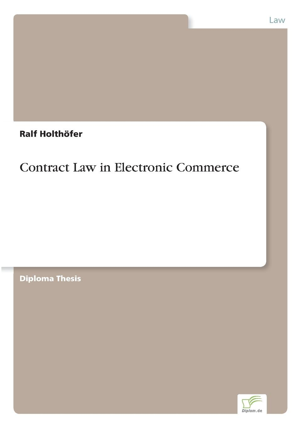 Ralf Holthöfer Contract Law in Electronic Commerce edited by alison dunn the voluntary sector the state and the law