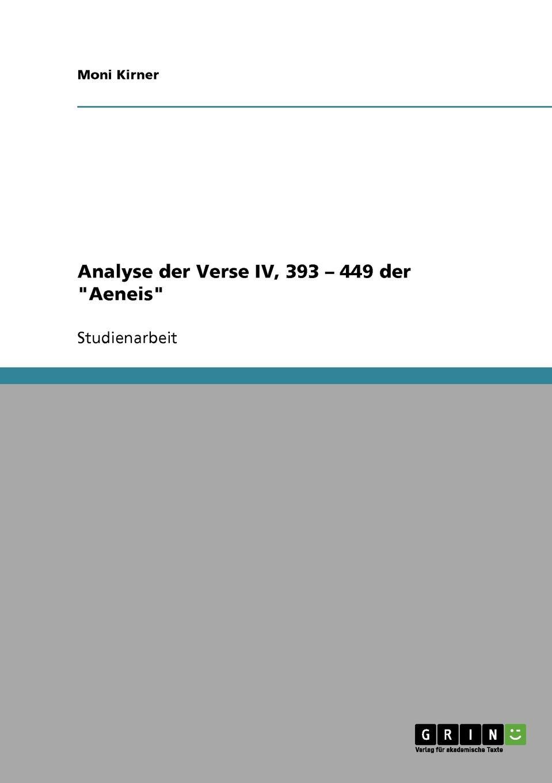 Moni Kirner Analyse der Verse IV, 393 - 449 der Aeneis henry purcell dido and aeneas