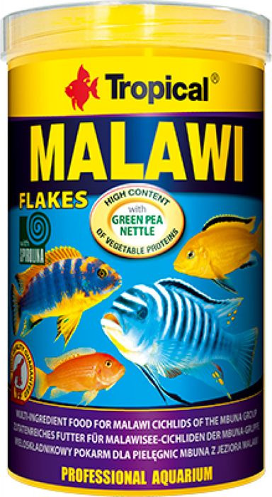 Корм для цихлид Tropical Malawi, многокомпонентный, хлопья, 200 г корм sera granugreen 250ml 09630 для растительноядных цихлид