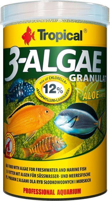 Корм для пресноводных и морских рыб Tropical 3-Algae Granulat, с водорослями, гранулы, 110 г корм для рыб tetra malawi granules для растительноядных рыб с водорослями гранулы 250мл