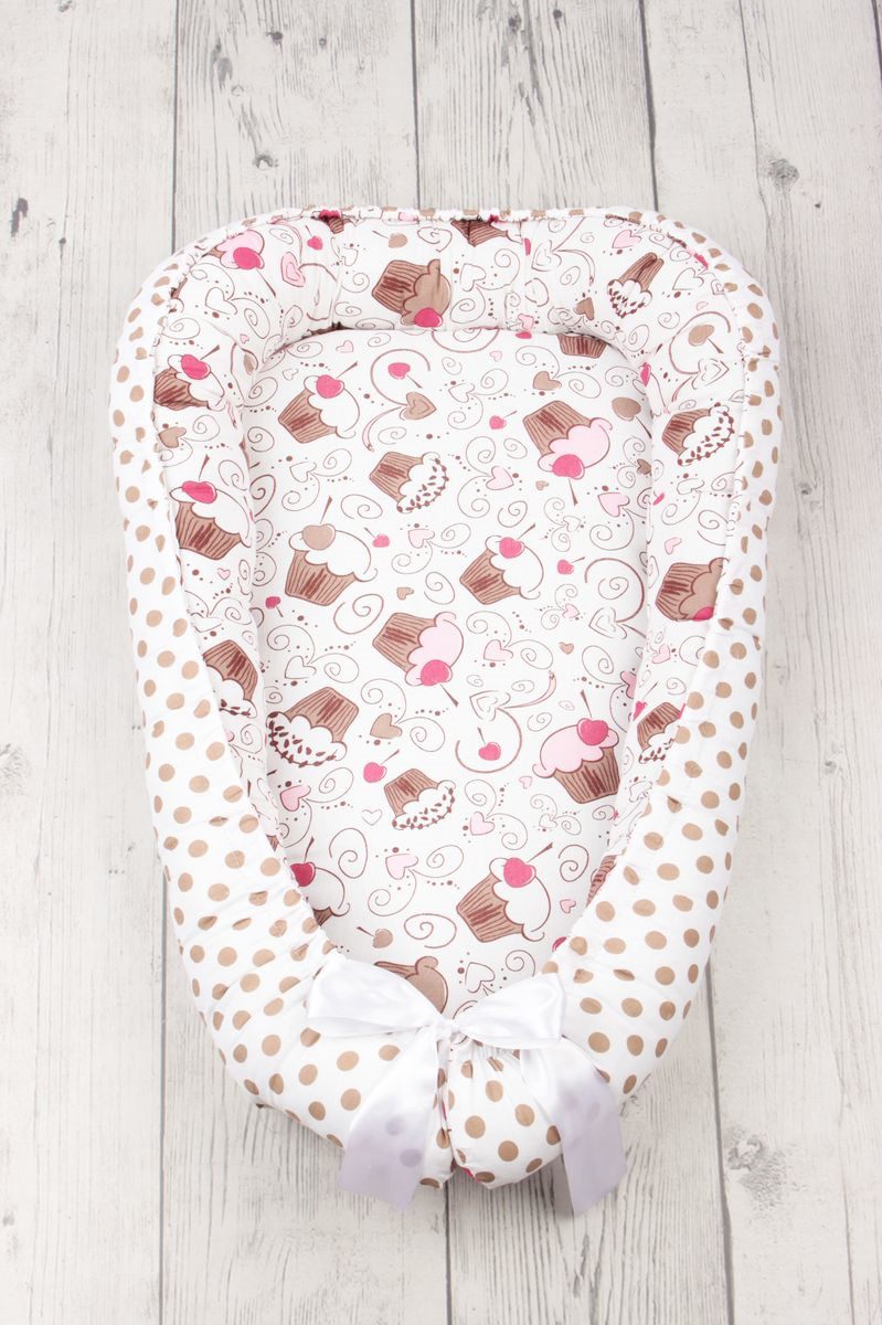 позиционеры для сна Подушка-позиционер для сна AmaroBaby Little Baby. Десерт, кокон-гнездышко
