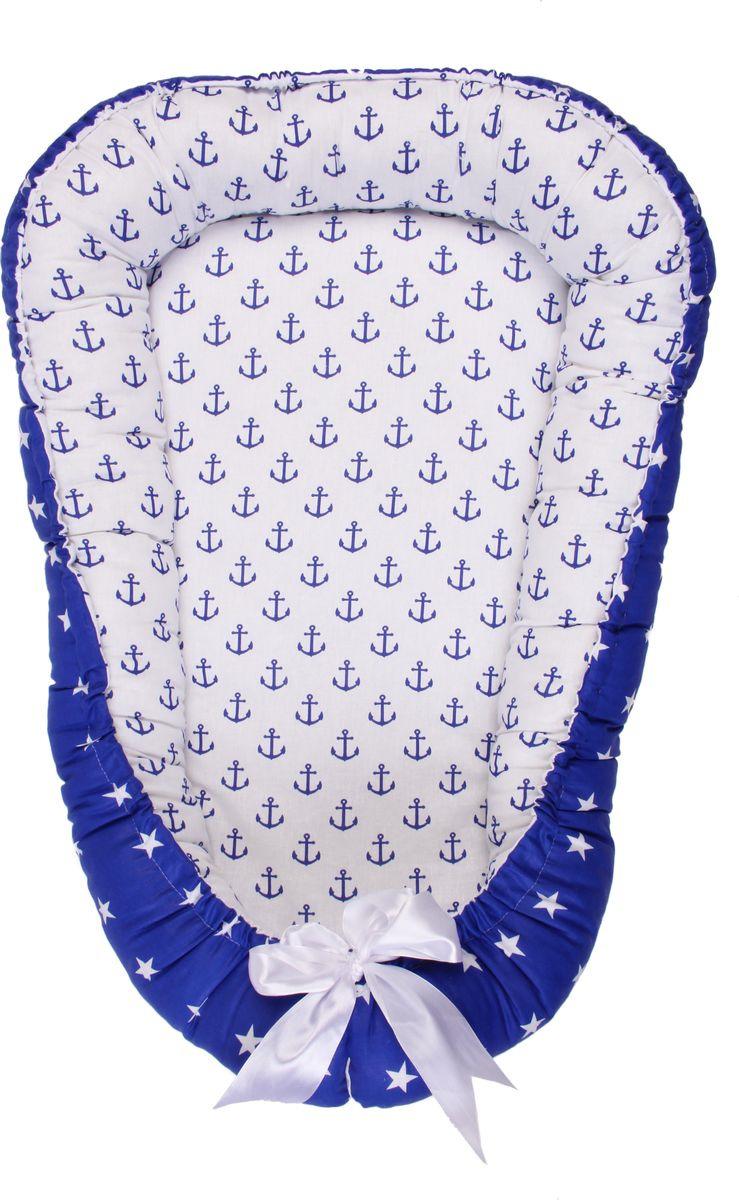позиционеры для сна Позиционер для сна AmaroBaby Little Baby, синий, белый, 50 х 70 см
