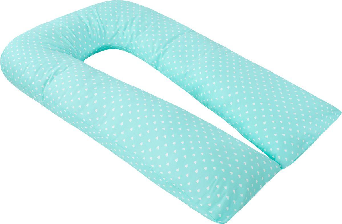 Чехол для подушки беременных AmaroBaby Сердечки, AMARO-50U-SM, бирюзовый, 340 х 35 см