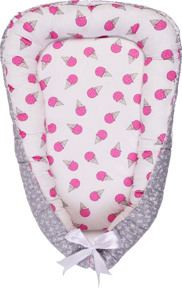 позиционеры для сна Позиционер для сна AmaroBaby Little Baby, серый, белый, розовый, 50 х 70 см