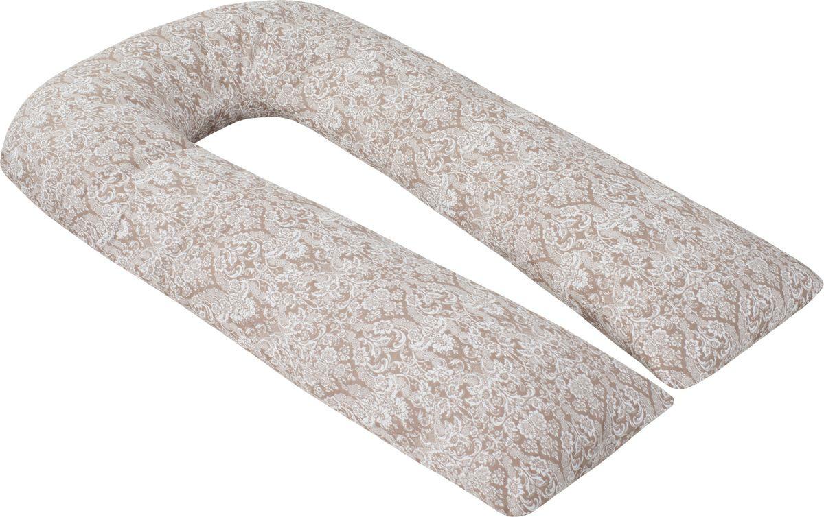 Подушка для кормящих и беременных AmaroBaby, U-образная, AMARO-40U-DK, темно-бежевый, 340 х 35 см