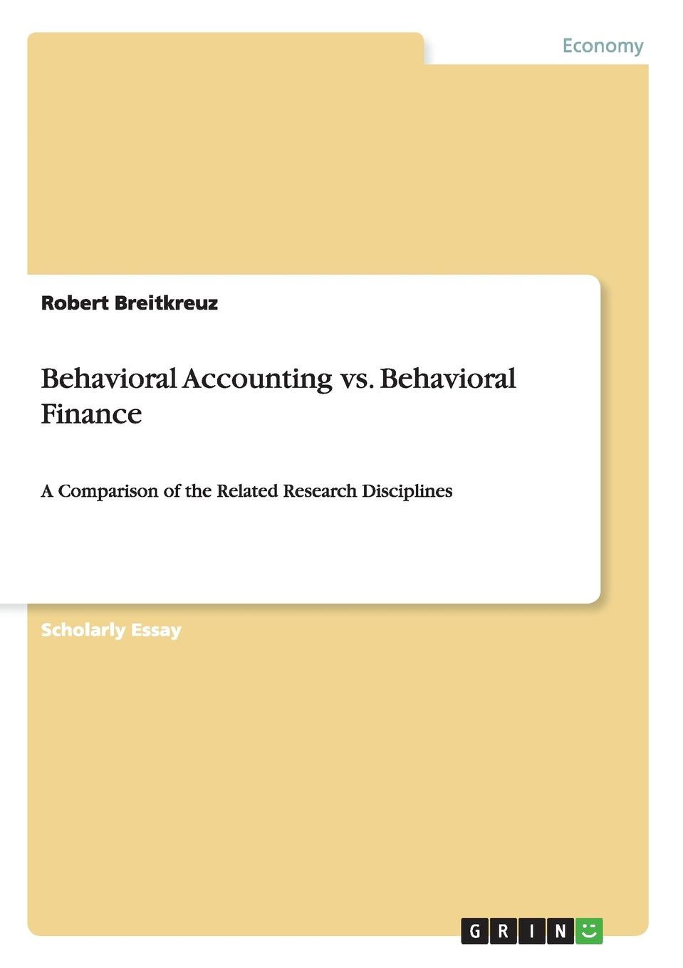 цена на Robert Breitkreuz Behavioral Accounting vs. Behavioral Finance