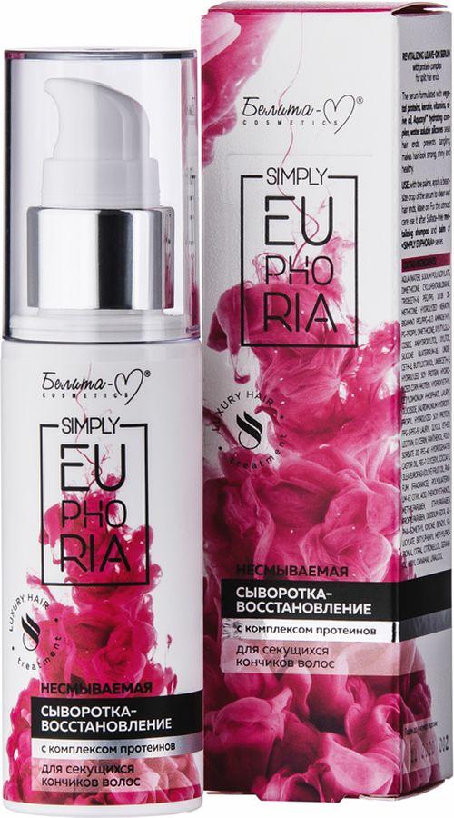 Сыворотка для волос Белита-М Simply Euphoria, с комплексом протеинов, для секущихся кончиков, 50 мл белита шампунь против ломкости для истонченных и секущихся волос крапива аргинин 400 мл