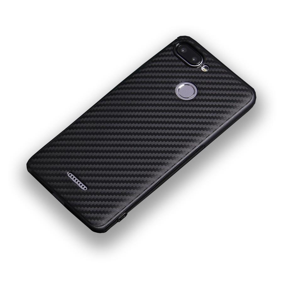 Чехол для сотового телефона ТПУ под карбон для Xiaomi Redmi 6, черный