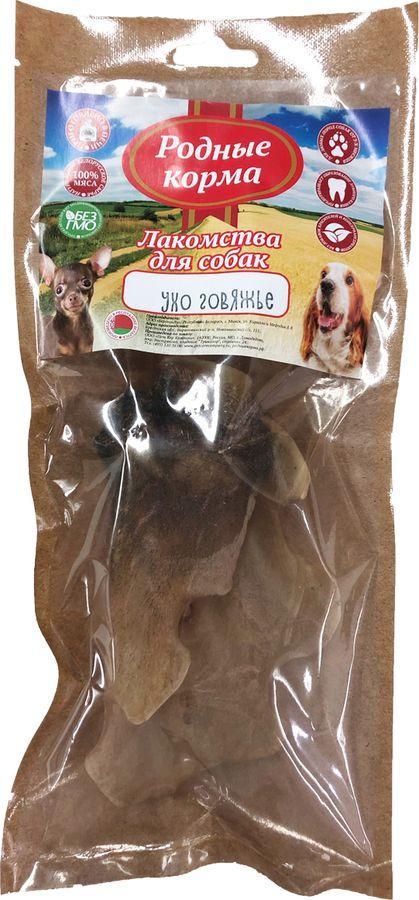 Лакомство Родные Корма Ухо говяжье, сушеное в дровяной печи, для собак, 50 г