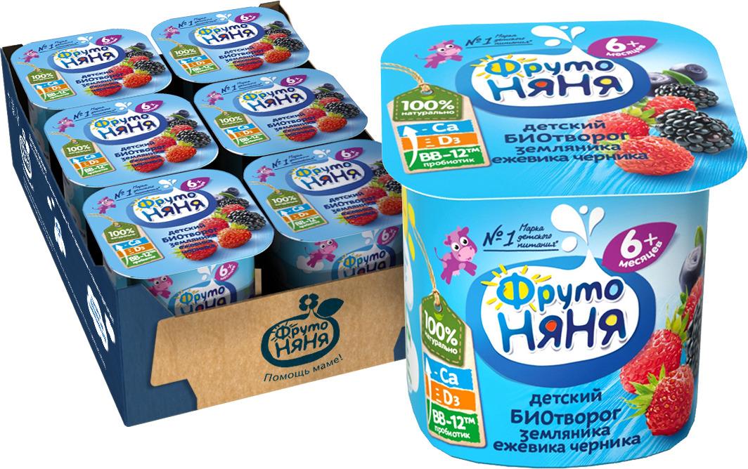 Биотворог ФрутоНяня, с лесными ягодами, для питания детей раннего возраста, 6 шт по 100 г