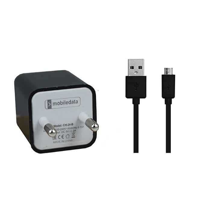 Сетевой адаптер Mobiledata CH-24, 2000mA 2 USB, microUSB кабель, черный