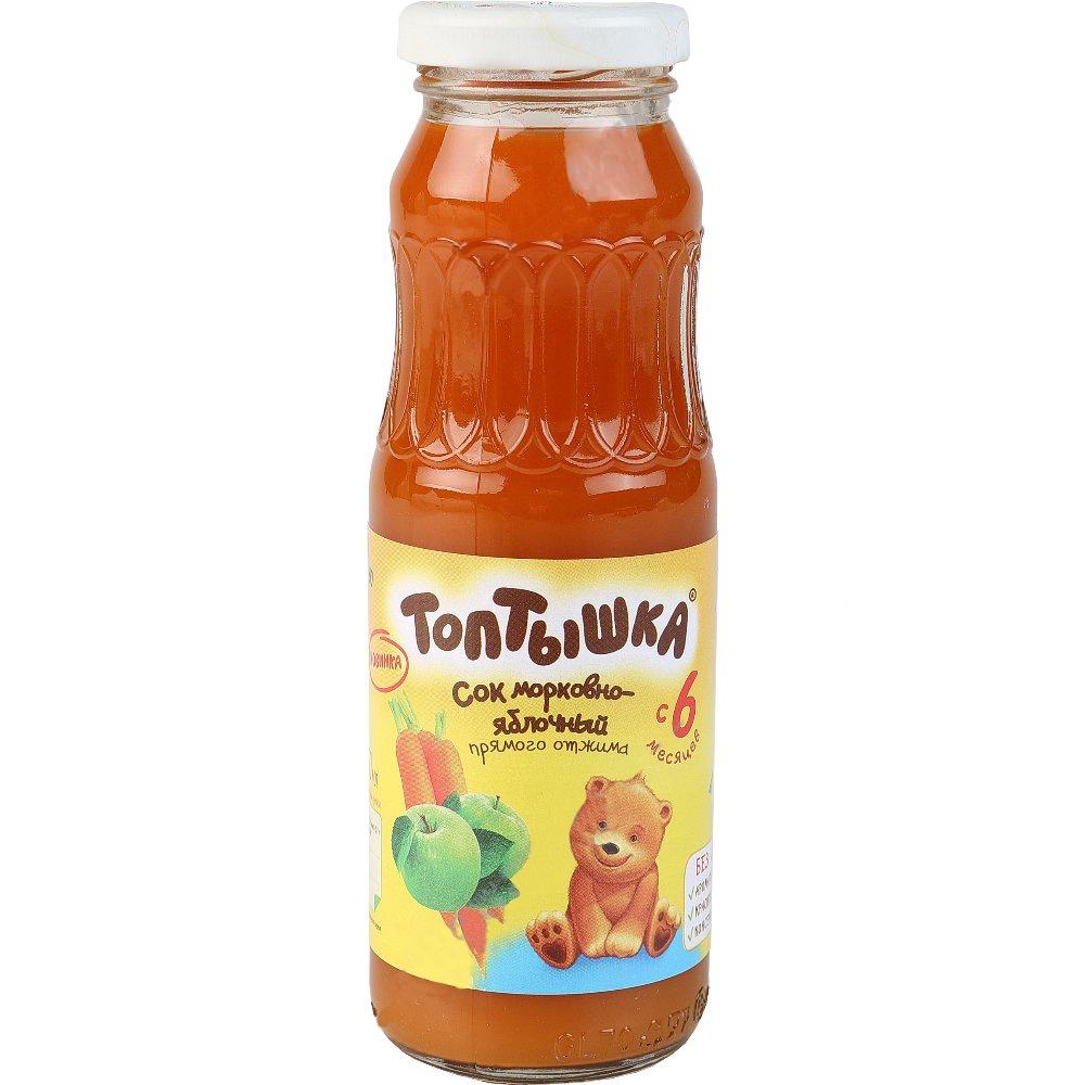 Фото - Сок Топтышка морковно-яблочный прямого отжима (с 6 месяцев), 250мл. ст.бут. нектар benature морковно яблочный 730 мл
