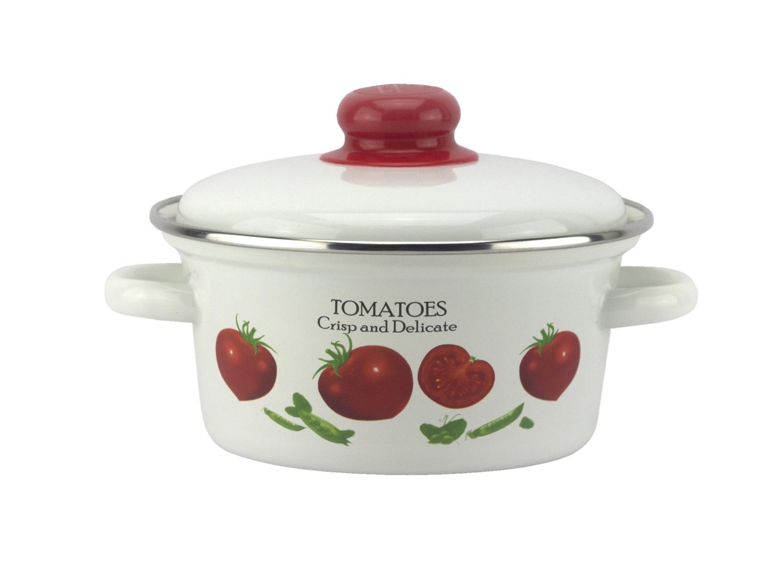Кастрюля Эмаль Томато 1,5 литра, с металлической крышкой, белый