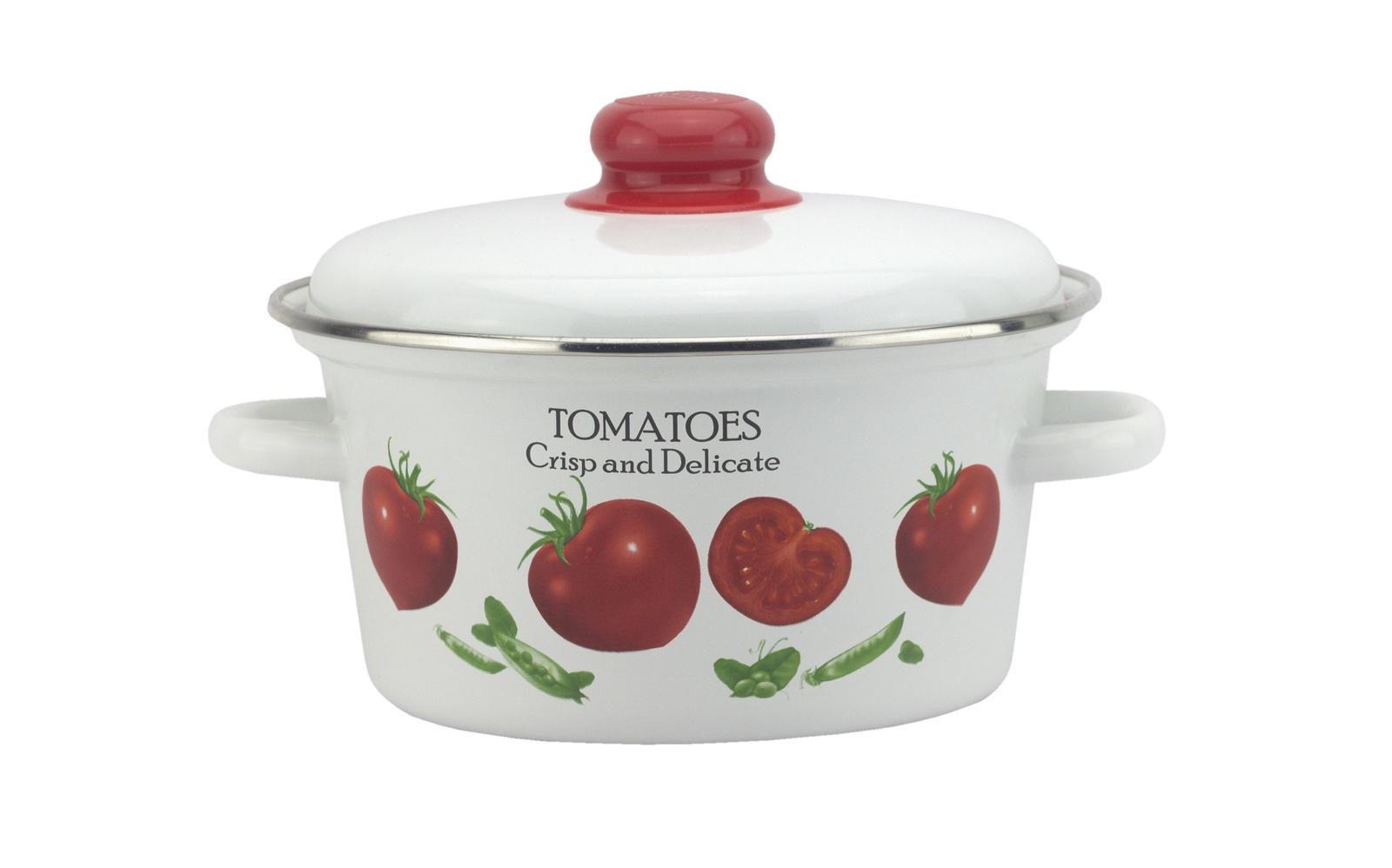 Кастрюля Эмаль Томато 2,5 литра, с металлической крышкой, белый